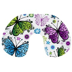Butterfly Animals Fly Purple Green Blue Polkadot Flower Floral Star Travel Neck Pillows