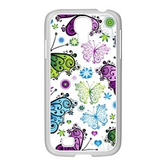 Butterfly Animals Fly Purple Green Blue Polkadot Flower Floral Star Samsung GALAXY S4 I9500/ I9505 Case (White)