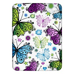 Butterfly Animals Fly Purple Green Blue Polkadot Flower Floral Star Samsung Galaxy Tab 3 (10.1 ) P5200 Hardshell Case