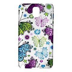 Butterfly Animals Fly Purple Green Blue Polkadot Flower Floral Star Samsung Galaxy Note 3 N9005 Hardshell Case