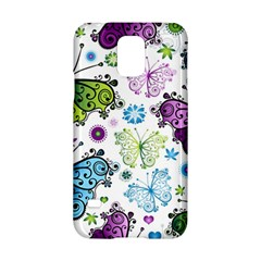 Butterfly Animals Fly Purple Green Blue Polkadot Flower Floral Star Samsung Galaxy S5 Hardshell Case