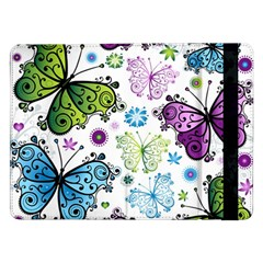 Butterfly Animals Fly Purple Green Blue Polkadot Flower Floral Star Samsung Galaxy Tab Pro 12.2  Flip Case