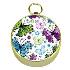 Butterfly Animals Fly Purple Green Blue Polkadot Flower Floral Star Gold Compasses