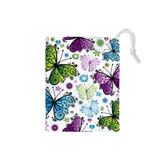 Butterfly Animals Fly Purple Green Blue Polkadot Flower Floral Star Drawstring Pouches (Small)