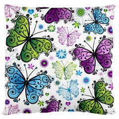 Butterfly Animals Fly Purple Green Blue Polkadot Flower Floral Star Large Flano Cushion Case (Two Sides)