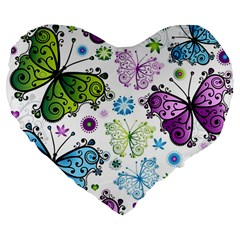 Butterfly Animals Fly Purple Green Blue Polkadot Flower Floral Star Large 19  Premium Flano Heart Shape Cushions