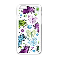 Butterfly Animals Fly Purple Green Blue Polkadot Flower Floral Star Apple Iphone 6/6s White Enamel Case