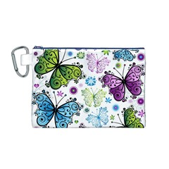 Butterfly Animals Fly Purple Green Blue Polkadot Flower Floral Star Canvas Cosmetic Bag (M)