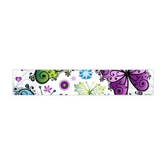 Butterfly Animals Fly Purple Green Blue Polkadot Flower Floral Star Flano Scarf (Mini)