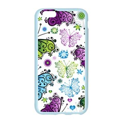Butterfly Animals Fly Purple Green Blue Polkadot Flower Floral Star Apple Seamless iPhone 6/6S Case (Color)