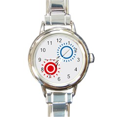 Color Light Effect Control Mode Circle Red Blue Round Italian Charm Watch