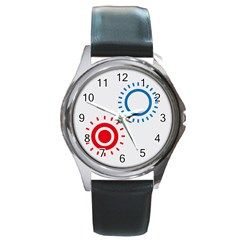 Color Light Effect Control Mode Circle Red Blue Round Metal Watch