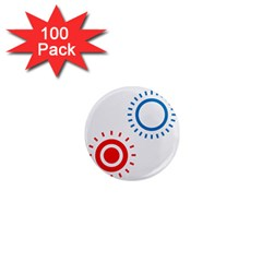 Color Light Effect Control Mode Circle Red Blue 1  Mini Magnets (100 pack)