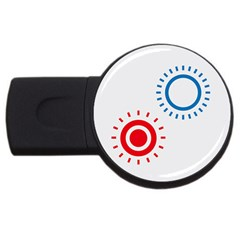 Color Light Effect Control Mode Circle Red Blue USB Flash Drive Round (1 GB)
