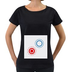 Color Light Effect Control Mode Circle Red Blue Women s Loose-Fit T-Shirt (Black)