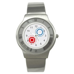 Color Light Effect Control Mode Circle Red Blue Stainless Steel Watch