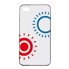 Color Light Effect Control Mode Circle Red Blue Apple Iphone 4/4s Seamless Case (black)