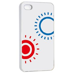 Color Light Effect Control Mode Circle Red Blue Apple iPhone 4/4s Seamless Case (White)
