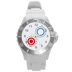 Color Light Effect Control Mode Circle Red Blue Round Plastic Sport Watch (L)