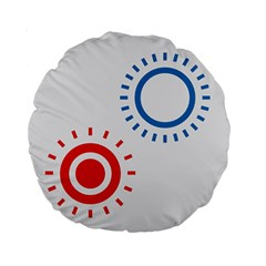 Color Light Effect Control Mode Circle Red Blue Standard 15  Premium Round Cushions