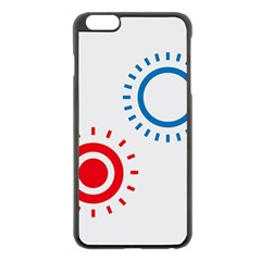 Color Light Effect Control Mode Circle Red Blue Apple iPhone 6 Plus/6S Plus Black Enamel Case