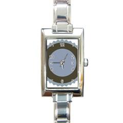 Circle Round Grey Blue Rectangle Italian Charm Watch