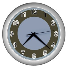 Circle Round Grey Blue Wall Clocks (Silver)