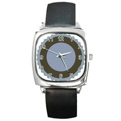 Circle Round Grey Blue Square Metal Watch