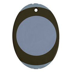 Circle Round Grey Blue Oval Ornament (Two Sides)