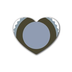 Circle Round Grey Blue Rubber Coaster (Heart)