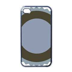 Circle Round Grey Blue Apple iPhone 4 Case (Black)
