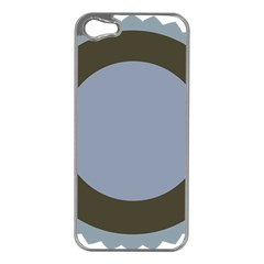 Circle Round Grey Blue Apple iPhone 5 Case (Silver)
