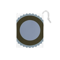 Circle Round Grey Blue Drawstring Pouches (small)