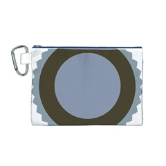 Circle Round Grey Blue Canvas Cosmetic Bag (M)