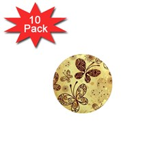 Butterfly Animals Fly Purple Gold Polkadot Flower Floral Star Sunflower 1  Mini Magnet (10 pack)
