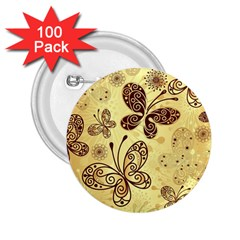 Butterfly Animals Fly Purple Gold Polkadot Flower Floral Star Sunflower 2.25  Buttons (100 pack)