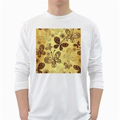 Butterfly Animals Fly Purple Gold Polkadot Flower Floral Star Sunflower White Long Sleeve T-Shirts