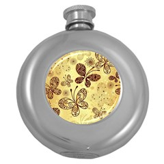 Butterfly Animals Fly Purple Gold Polkadot Flower Floral Star Sunflower Round Hip Flask (5 oz)