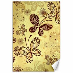 Butterfly Animals Fly Purple Gold Polkadot Flower Floral Star Sunflower Canvas 20  X 30