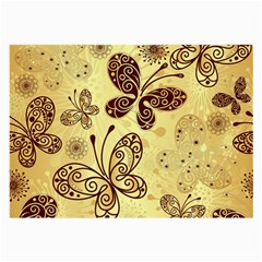 Butterfly Animals Fly Purple Gold Polkadot Flower Floral Star Sunflower Large Glasses Cloth