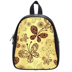Butterfly Animals Fly Purple Gold Polkadot Flower Floral Star Sunflower School Bags (Small)
