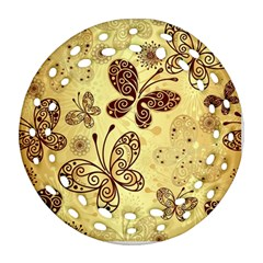 Butterfly Animals Fly Purple Gold Polkadot Flower Floral Star Sunflower Ornament (Round Filigree)