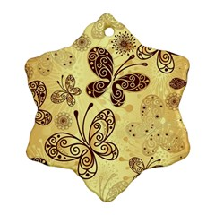 Butterfly Animals Fly Purple Gold Polkadot Flower Floral Star Sunflower Ornament (Snowflake)