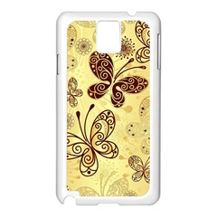 Butterfly Animals Fly Purple Gold Polkadot Flower Floral Star Sunflower Samsung Galaxy Note 3 N9005 Case (White)