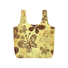 Butterfly Animals Fly Purple Gold Polkadot Flower Floral Star Sunflower Full Print Recycle Bags (S)