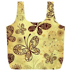 Butterfly Animals Fly Purple Gold Polkadot Flower Floral Star Sunflower Full Print Recycle Bags (L)