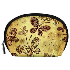 Butterfly Animals Fly Purple Gold Polkadot Flower Floral Star Sunflower Accessory Pouches (large)
