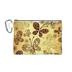 Butterfly Animals Fly Purple Gold Polkadot Flower Floral Star Sunflower Canvas Cosmetic Bag (M)