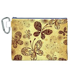 Butterfly Animals Fly Purple Gold Polkadot Flower Floral Star Sunflower Canvas Cosmetic Bag (XL)