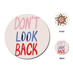 Don t Look Back Big Eye Pink Red Blue Sexy Playing Cards (Round)